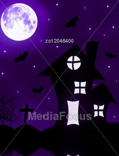 Background Of A Halloween With The Lock And The Full Moon Stock Photo #halloween #halloweenimages