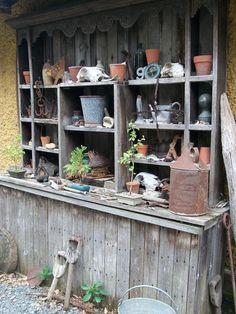 EnglishGardeners: Vintage shelving potting shed - All For Garden Vintage Shelving, Potting Tables, Garden Shelves, Potting Sheds, Garden Structures, Garden Pots, Potted Garden, Dream Garden, Garden Projects