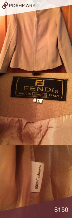 Fendi Cashmere Jacket Beautiful Jacket by Fendi made in Italy. 100% cashmere. Zipper works terrific. Camel color. Shaped to show waist. Slight structured shoulder pads. Only flaw as seen in pic 2. Lining has pulled away from material in a very small spot. Not noticable and very fixable. Says XL but I would say fits more like a large. Don't miss out on this true classic! Fendi Jackets & Coats Blazers