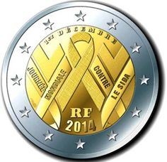 N♡T.2 euro: World AIDS Day 2014.Country:France France Mintage year:2014 Issue date:24.11.2014 Face value:2 euro Diameter:25.75 mm Weight:8.50 g Alloy:Bimetal: CuNi, nordic gold Quality:Proof, BU, UNC
