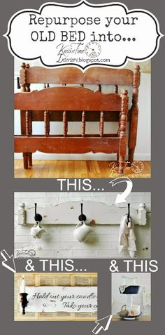 Nothing Goes to Waste - a Repurposed Headboard in a Coat Rack, a Tiered Stand and a Sign  ~~~via knickoftimeinteriors.blogspot.com