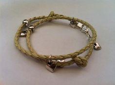 Cream Braided Leather Heart Bracelet by SimplyByRebecca on Etsy, £8.00