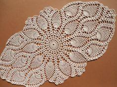 Handmade crochet doily color - ecru 100 % - cotton size - 20 inches X 11 inches  51 cm . X 28 cm .