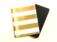 Gold and White Nautical Stripe Passport Cover