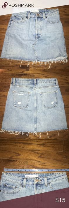 ASOS denim mini skirt ASOS light wash distressed denim mini skirt. Size US 4/UK 8. Like new. See pictures for measurements. ASOS Skirts Mini