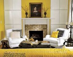 15 Sunny Living Room Design Ideas Bright Yellow Living Room Design with Fireplace – Interior Design