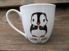 Ahhhhh I loves it!     LOOK ON BACK When I Grow Up I Wanna Kill Batman Penguin Double Sided Coffee Mug Tea Cup. $14.00, via Etsy.