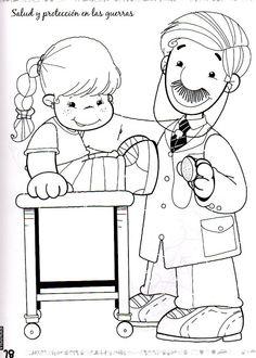 ziek zijn, kleurplaat Pattern Coloring Pages, Disney Coloring Pages, Coloring Pages For Kids, Coloring Sheets, Coloring Books, Community Workers, Community Helpers, Book Hospital, People Who Help Us
