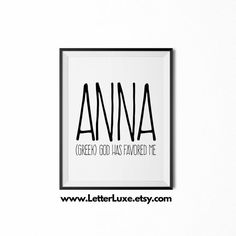 Anna Name Meaning Art Printable Birthday by LetterLuxePrintables