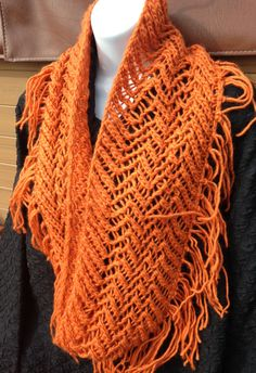 Autumn Tangerine color cowl, Thanksgiving neck warmer, Fall fashion scarf,  Gift, Lacy, infinity Silk & wool soft by 1woolygirls on Etsy
