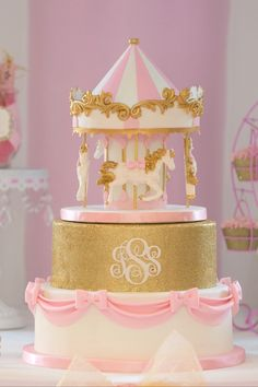 Cake from a Pink Carousel Birthday Party via Kara's Party Ideas! KarasPartyIdeas.com (43)