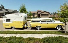 Matching lemon-yellow/white '63 Rambler wagon with camper - yes