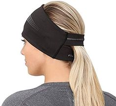 TrailHeads Ponytail Headband / Women's Performance Running Ear Warmer with Reflective Accents - Adrenaline Series - black / reflective - The perfect headband for cold weather jogging, cycling, or any outdoor activity. How To Wear Headbands, Running Headbands, Sports Headbands, Headband Styles, Ear Warmers, Bandeau, Gym Wear, Sport Wear, Courses