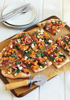 Butternut Squash, Spinach and Goat Cheese Pizza Recipe | Epicurious.com #myplate #veggie #vegetable