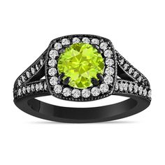 Beautiful Green Peridot and Diamonds Engagement Ring 1.56 Carat Halo Pave Handmade Certified