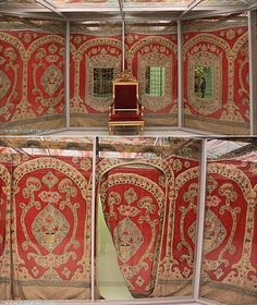 One of the tents that housed the sultan and the higher echelons when in the field.  Ottoman, 19th century.  They were made of silk and satin material, and embellished inside and out with leather, brocades and embroidered materials.