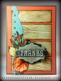 Stampin' Up! Thank you card created by Melissa @ crazypaperfreak.blogspot.com Harvest of Thanks, French Foliage, Sweater Weather, DSP