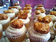 The South Philly: Beer Cake with beer custard, topped with caramel buttercream and an authentic South Philly soft pretzel. www.msgoodycupcake.com