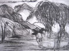 Print Intaglio aquatint of Wood Carrier trees and by conmismanos, $20.00