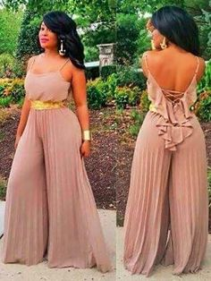 New Women Jumpsuits Dress Sleeveless Back Deep V Neck Chiff Long Casual Holiday Romper