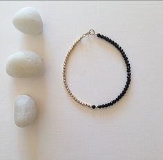 gold and black spinel bracelet  everyday luxe by ALEXplusMAE