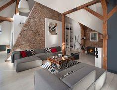 Salon moderne avec murs en briques
