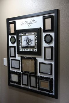 DIY: Gallery Wall Tutorial - thrifted & mismatched frames are painted the same color & hung on a hall wall. Background of the collection is actually the wall & painted a different color to highlight the frames. ( good idea to rematch old frames) Family Tree Picture Frames, Family Tree With Pictures, Family Tree Wall, Family Collage, Picture Groupings, Family Trees, Picture Wall, Family Photos, Family Room