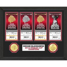 Chicago Blackhawks Stanley Cup Ticket and Bronze Coin Collection