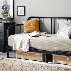 IKEA - FYRESDAL, Day-bed with 2 mattresses, black, Moshult firm, A classic powder coated steel frame which is easy to maintain. Sofa Cama Ikea, Ikea Daybed, Daybed Room, Daybed Bedding, Nursery Daybed, Diy Daybed, Plywood Furniture, Bedroom Furniture, Bedroom Decor