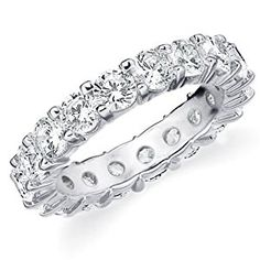 14K White Gold Shared-Prong Diamond Wedding Anniversary Eternity Band (4.0 cttw, H-I Color, SI1-SI2 Clarity) RING SIZE 4.5