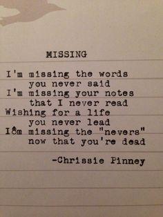 Missing. Through Struggle series no. 18 #chrissiepinney