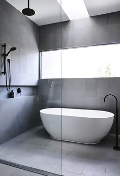 Dreaming of an extra or designer master bathroom? We've gathered together lots of gorgeous master bathroom tips for small or large budgets, including baths, showers, sinks and basins, plus master bathroom decor tips. Bathroom Layout, Modern Bathroom Design, Bathroom Interior Design, Small Bathroom, Wet Room Bathroom, Bathroom Grey, Minimal Bathroom, Wet Room With Bath, Bathroom With Window