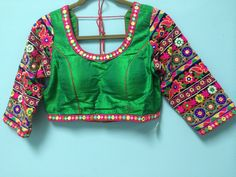 Raw Silk Sari Blouse with embroidery on 3/4 by AnmolEthnics