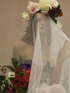 Bespoke, printed bridal lingerie, styled with a hand-embroidered veil and flower crown. Wedding Veils, Bridal Wedding Dresses, Bridesmaid Dresses, Hermione, Wedding Types, Floral Gown, Bridal Lingerie, Bridal Collection, Bespoke
