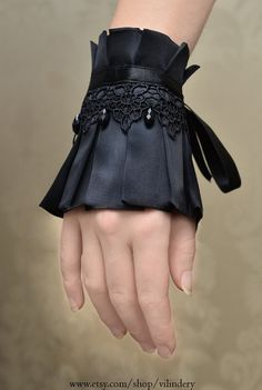 Little Gothic Victorian Cuff Bracelet with Drop Beads by Vilindery, $17.00