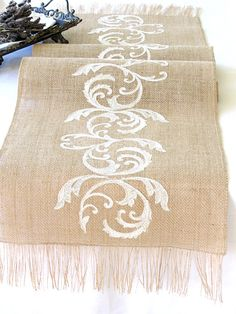 Natural Burlap Table Runner Wedding Table Runner with Ivory Embroidery Rustic Wedding Party Linens , handmade in the USA by HotCocoaDesign Natural burlap wedding table runner with ivory Rustic Chic Decor, Rustic Table, Burlap Fabric, Burlap Lace, Burlap Table Runners, Nature Decor, Rustic Wedding, Table Wedding, Ivory Wedding