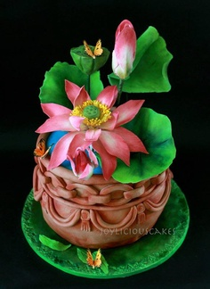A Pot of Lotus Cake by Joyliciouscakes Cupcake Icing, Cupcake Cakes, Cupcakes, Beautiful Cakes, Amazing Cakes, Lotus Cake, Decorator Frosting, Farewell Gifts, Piece Of Cakes