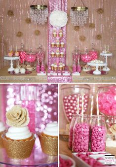 Pink and gold Rustic Glam sweets table designed by Soiree-EventDesign.com for Koyal Wholesale