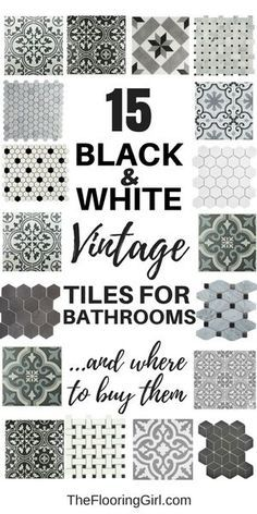 15 black and white stenciled and vintage tiles for a retro vintage or farmhouse style.
