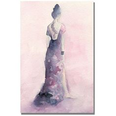 Trademark Art Long Purple and Pink Dress Canvas Wall Art by Beverly Brown