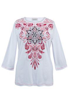 Plus Size White Paisley Crewneck Tee | Plus Size Knit Tops & Tees | Avenue