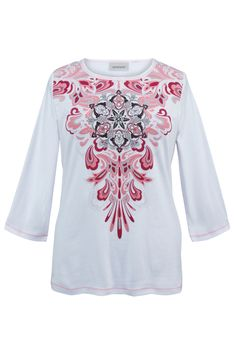 Plus Size White Paisley Crewneck Tee | Plus Size Knit Tops & Tees | Avenue