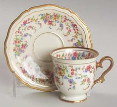 "Rosenthal-Continental Eleanor in Cream Footed Demitasse Tea Cup & Saucer, 2-3/8"". $49.99/Pr at Replacements.com, 3/6/16"