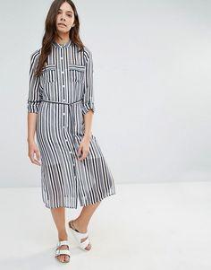Influence | Influence Stripe Tie Waist Shirt Dress