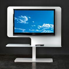 Porta TV girevole a 360° realizzato in vetro nei colori rosso,bianco o nero. Piedistallo in acciaio verniciato bianco o nero. Misure: 130x40x130h