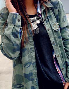 camo shirt, plaid shirt, ethnic necklace