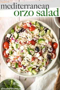 Quick and easy Mediterranean orzo pasta salad packed with fresh vegetables and herbs is tossed in a Greek lemon vinaigrette. It's healthy, light and delicious. | aheadofthyme.com #orzosalad #orzo #orzopasta #mediterraneansalad #greeksalad #greekorzo via @aheadofthyme Easy Salad Recipes, Vegetarian Recipes, Healthy Recipes, Orzo Recipes, Vegetable Recipes, Healthy Foods, Greek Pita Bread, Lemon Vinaigrette Dressing, Koken