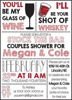 Stock The Bar Couples Shower Invite Digital Copy via Etsy - $10 - CWesterbuhr Designs   YES YES YES YES YES