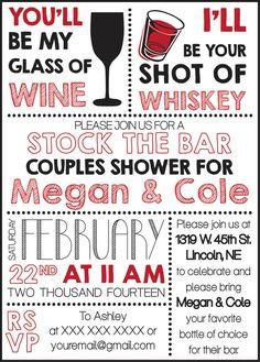 Stock The Bar Couples Shower Invite Digital Copy via Etsy - $10 - CWesterbuhr Designs