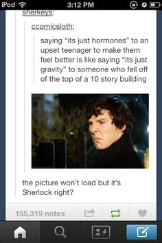 Hahaha my top choice to post it to was Martin Freeman haha Sherlock Bbc, Sherlock Fandom, Benedict Sherlock, Martin Freeman, Tumblr Funny, Funny Memes, Hilarious, Johnlock, The Mentalist